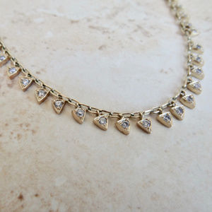 Multi-Triangle Gold with Crystal Center Necklace